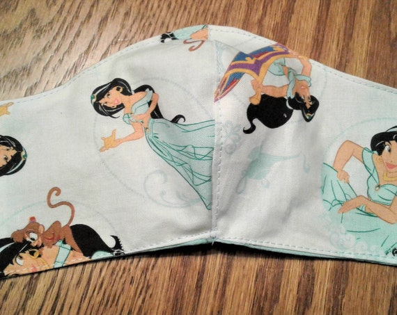 Face Masks,Handmade fabric face mask,Jasmine mask, Disney Inspired Face mask, Women's face mask, Childrens face mask