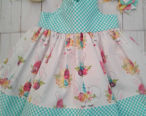 Girls Easter Dress, Bunnies Unicorn dress, Baby Easter dress, Toddler sundress, Bunny sundress