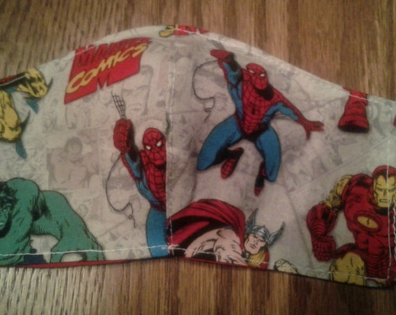 Boys  Face Masks, Marvel Heroes Face Mask  Handmade fabric face mask,7-12 yrs face mask, 2 day shipping, Free shipping