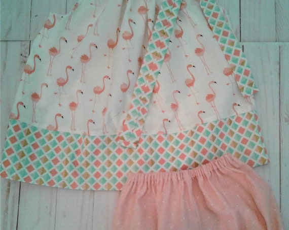 Flaming Baby Dress, Girls Bloomer set, Easter outfit,Diaper set, Toddler outfit