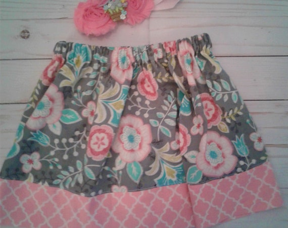 Girls Spring floral skirt, Toddler skirt, Baby skirt, Easter skirt, Floral Shabby chic skirt