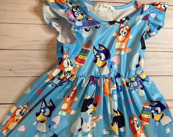 Bluey inspired Dress, Wrinkle Free, Bluey Birthday