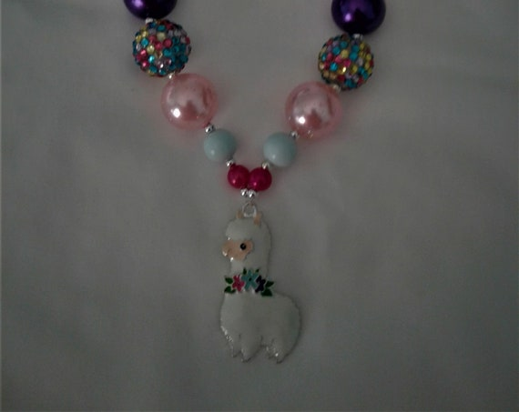 Llama Chunky Girls Necklace, Alpaca Necklace, Girls Rhinestone necklace,girls jewelry, toddler necklace