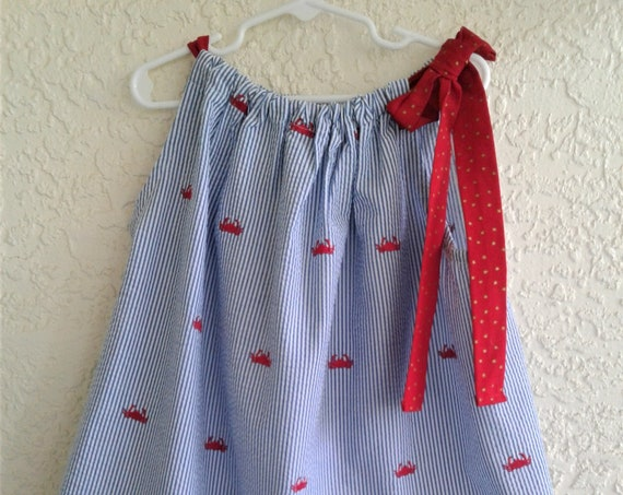 Girls Dress, Pillowcase Dress, Red Crab Dress, Summer Dress, Seersucker Dress, Infant Dress, Toddler Dress, Tween Dress, Handmade Dress