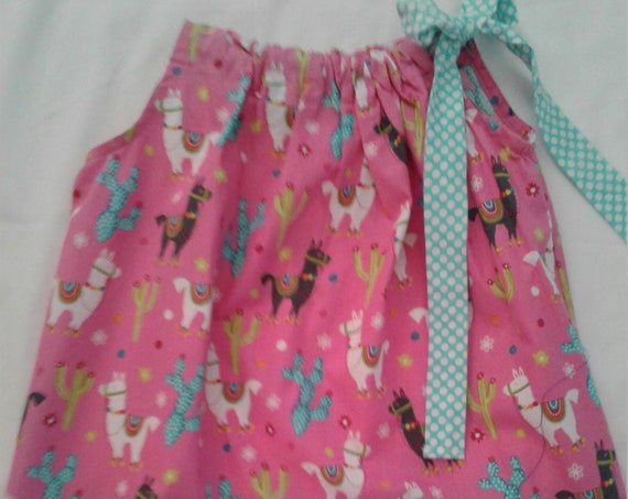 Llama Girls Dress, Summer Sundress, Birthday dress, Alpaca Dress, Toddler dress,Baby dress,Pillowcase styled dress,Free Shipping
