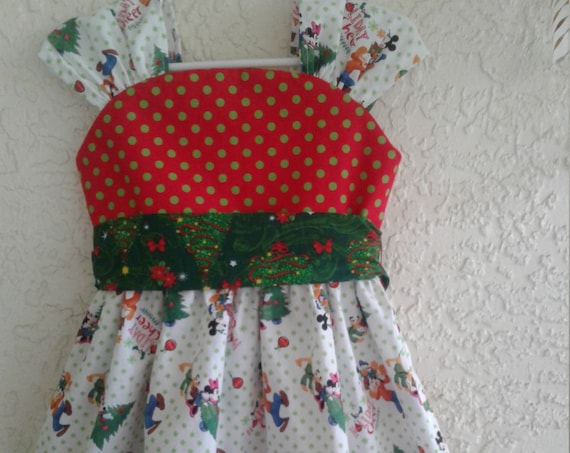Disney Christmas Dress, Girls Christmas outfit, Mickey Holiday Dress, Toddler Dress, Holiday Party Dress, Baby Christmas,  Free Shipping