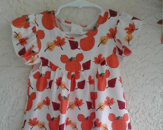 Micky Ears Fall Dress, ,Pumpkin Dress, Flutter sleeve dress, Toddler dress, Baby dress, Disney Park Visit, Ready to ship