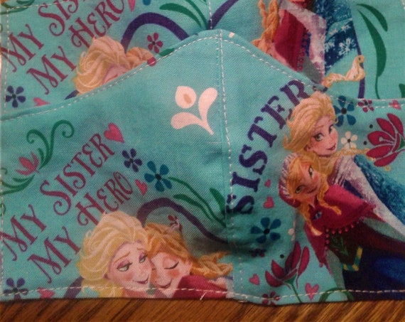 Frozen Face Masks,Handmade fabric face mask, Disney Inspired Face mask , Childs 3-6 yr, 2 day shippings