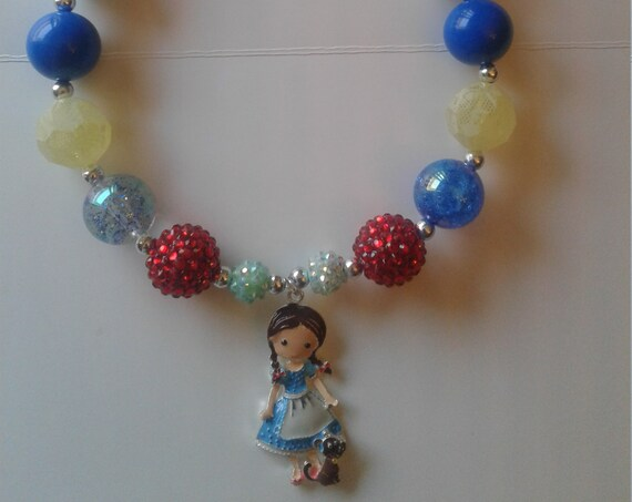 Wizard of Oz inspired Necklace, Dorothy and Toto Pendant, Girls Necklace, Girls Bubblegum Necklace