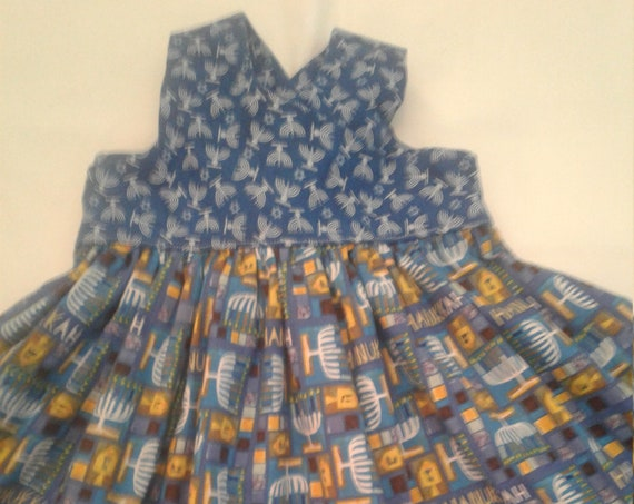Hannukah Dress, Girls Chanukah Dress, Jewish Holiday, Menorah dress, Size 12-18 mo Ready to ship Unique gift