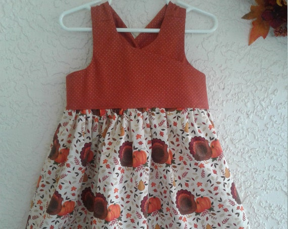 Thanksgiving Dress, Girls Handmade dress,  dress,Party Dress, Holiday outfit, Family photo
