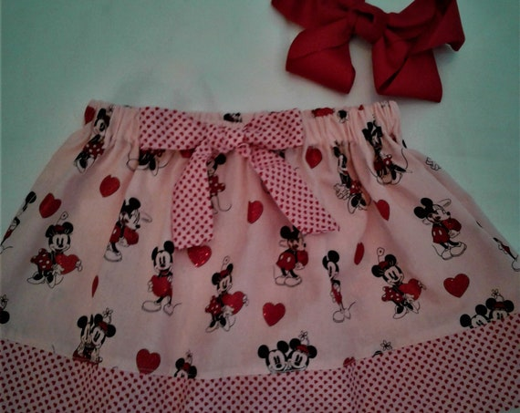 Disney Skirt, Be Mine  Minnie Valentines Girls Skirt, Toddler Skirt, Skirt with Bow , Ready to Ship,