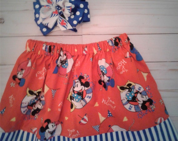 Minnie Mouse Skirt, Girls Disney Skirt, Disney Cruise, Toddler skirt, Baby Skirt