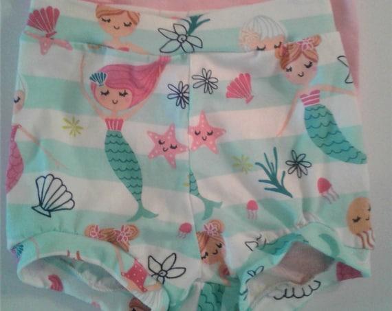 Mermaid Bummies, Cotton knit Shorties, Baby Bummies, Toddler Bummies, Summer Shorts, Beach Shorts