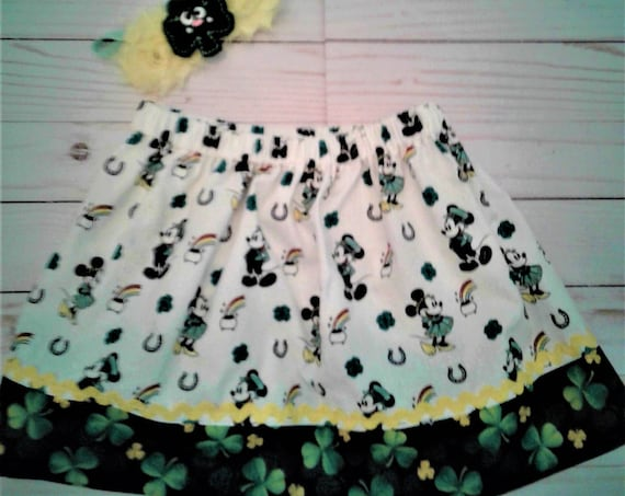 Girls St Patrick's skirt,Mickey Patrick' Days skirt Toddler skirt, Baby Disney, Irish festival