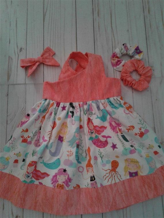 Mermaid girls dress, Summer sundress, Baby dress,Toddler Dress, Sea Animals and mermaids