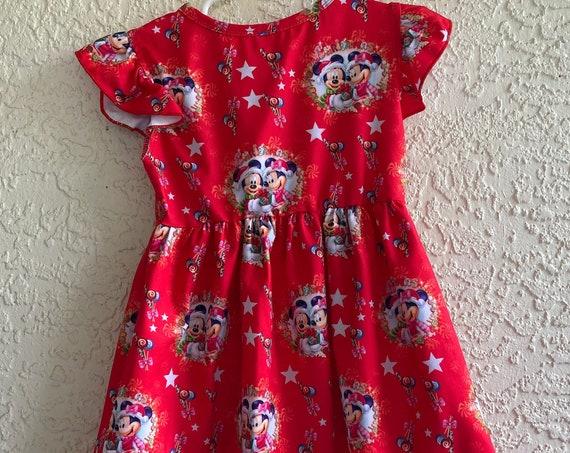 Disney Inspired Christnas dress, Mickey, Minnie, Wrinkle free, Ready to ship