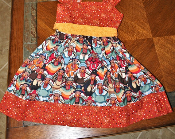 Girls Thanksgiving Dress, Handcrafted, Holiday Party Dress, Turkey Dress, Infant Dress, Toddler Dress, Fall Dress, Football Turkeys