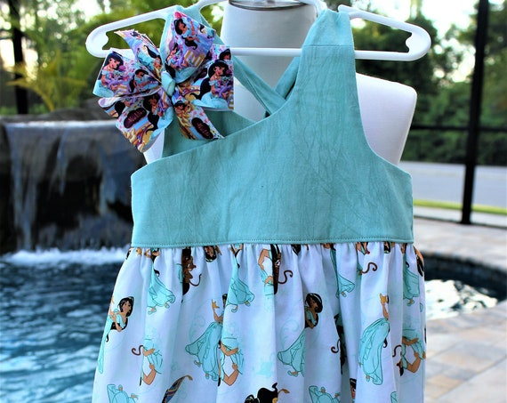 Princess Jasmine Dress,Aladdin Movie,  Girls Birthday Dress, Disney Vacation,Baby Dress, Toddler Dress , Free Shipping