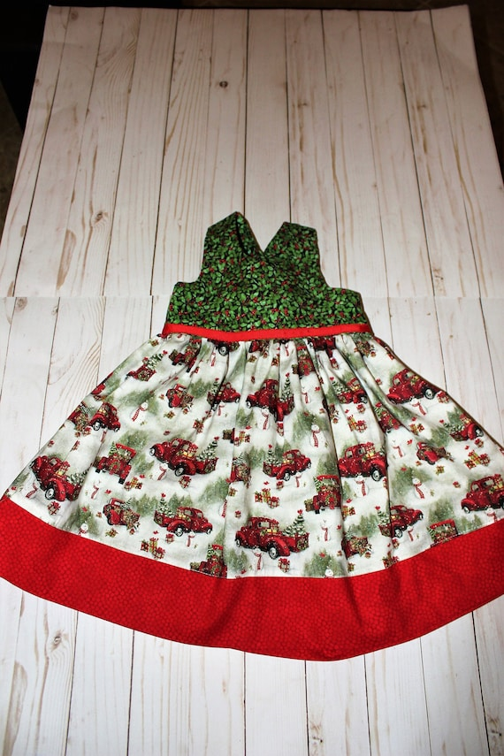 Christmas Red Truck Dress, Handmade, Christmas Party dress  ,Holiday Photos