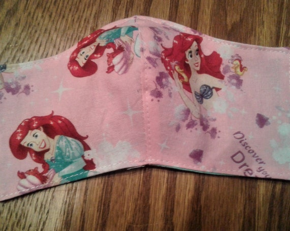 Face Masks,Handmade fabric face mask,Ariel mask, Disney Inspired Face mask, Childrens face , Size 3-6 yrs, Ready to ship