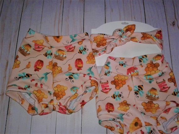 Bumble Bee Diaper cover set, Gender Neutral, Knotted headband