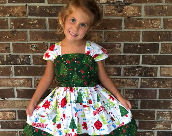 Girls Christmas Dress, Christmas outfit, Girls Holiday Dress, Toddler Christmas Dress, Holiday Party Dress, Cap sleeve Dress