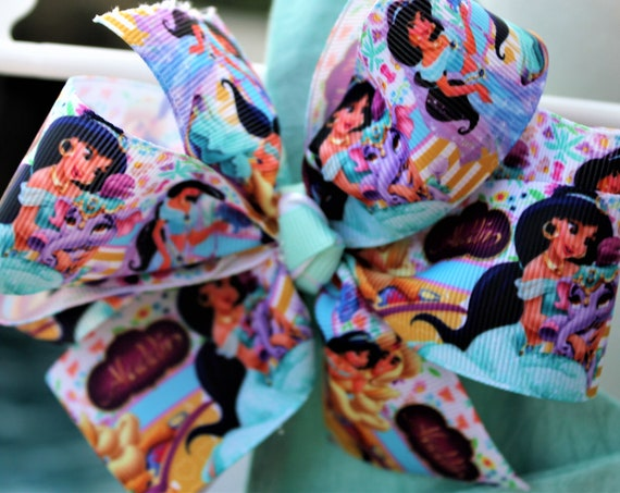 Jasmine Hair bow, Disney Princess Bow Toddler bow, Disney hair clip, Birthday bow, Disney Vacation. Aladdin movie,