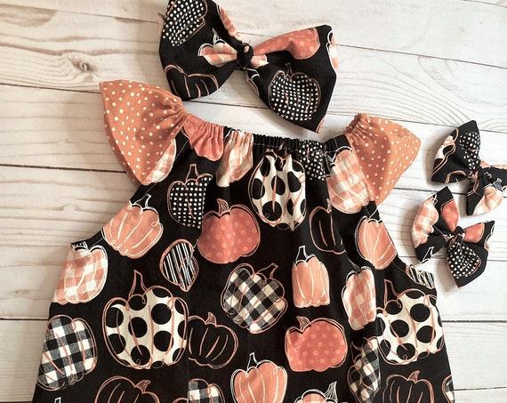 Pumpkin Dress, Fall Dress with Pumpkins, Pumpkin Patch, Halloween