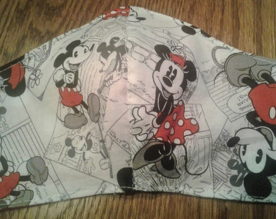 Disney inspired face mask Handmade fabric face mask, Minnie Mickey mask, Adult size,7-12 yrs,3-6 yrs