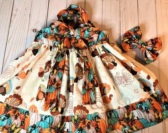 Girls Fall Dress, Thanksgiving, Pumpkins and Turkeys, Handmade, Bow included