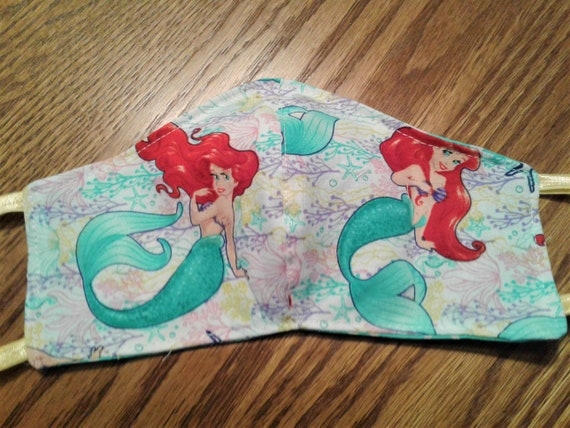 Face Masks,Handmade fabric face mask,Ariel mask, Disney Inspired Face mask,  Children's face mask,7-12 yrs, 3-6 yrs yrs