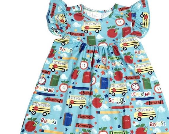 Back to School Dress, Pearl Milk Silk Girls Dress, Wrinkle Free ,Ready to ship, Toddler Dress, School print dress
