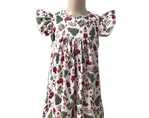 Elf on the Shelf Dress, Christmas dress, Pearl Milk Silk Girls Dress, Flutter sleeve,Ready to ship,  Toddler Dress, School print dress
