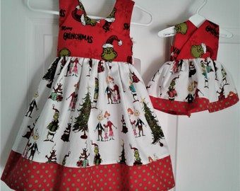 6f3482f7c289 Grinch Dress, Christmas Dress, Baby Dress, Toddler Dress, Santa Photo, Free  shipping