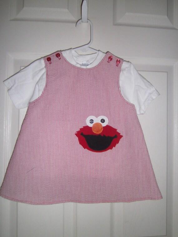 Girls, Elmo Seersucker Jumper ,Sundress, Red, Baby 6mo,12mo,18mo, toodler 2t,3t,4t,5