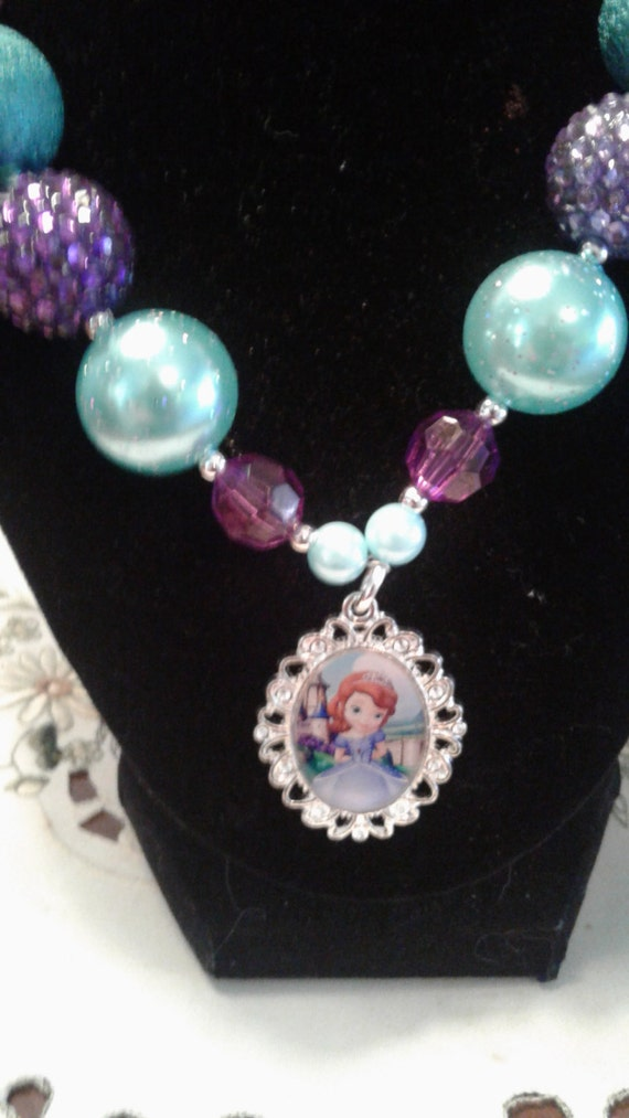 Disney Princess Sofia Chunky Bead Necklace, Handmade Necklace, Toddler Necklace, Birthday Necklace,Bubblegum Beaded Necklace,girls necklace