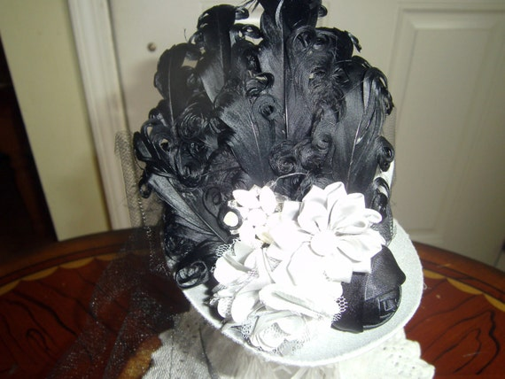 Girls Mini Top Hat, Fascinator, Handcrafted, Gray Black Hat, Birthday Hat,Tea Party, Costume Party, Bridesmade Hairpeice,photo prop