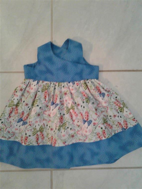 Girls Easter Dress, Handmade Dress, Baby Easter dress, Toddler dress, Bunny Print Dress, Blue Baby Dress, Easter Sundress