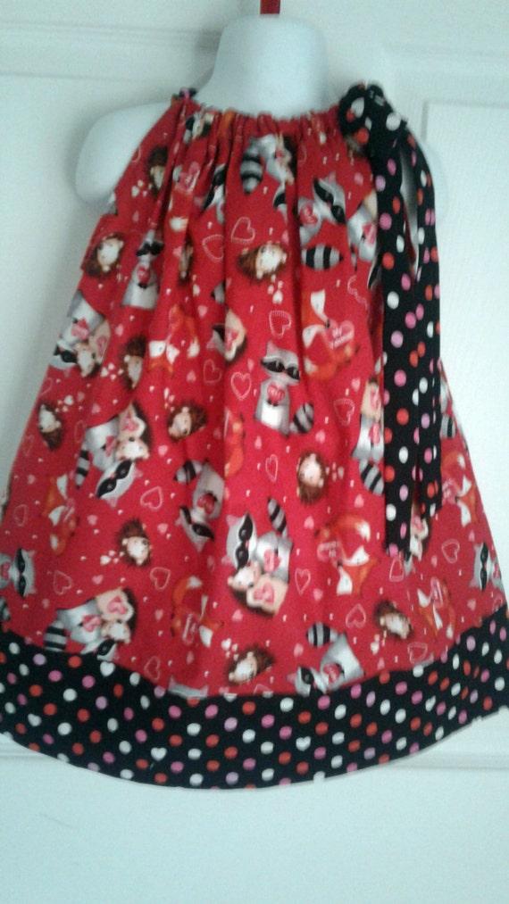 Valentine's Pillowcase Dress, Handmade Dress, Forest Animals Dress, Baby Dress,Toddler Dress, Holiday Dress, Cotton Dress, Party Dress