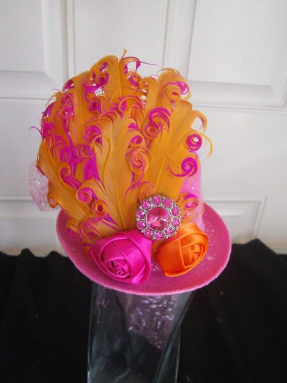 Mini Top Hat, Fascinator,Handmade, Halloween Costume, Birthday Hat, Alice in Wonderland Theme Tea Party,Photo Prop, Feathers, Bling