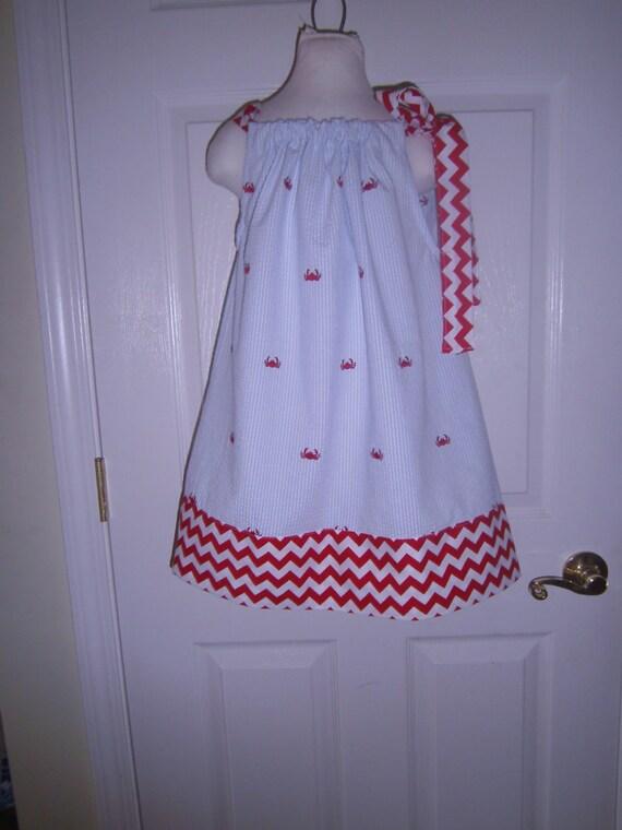 Girls Dress, Pillowcase Dress, Red Crab Dress, Summer Dress, Seersucker Dress, Infant Dress, Toddler Dress, Tween Dress, Handmade Dress