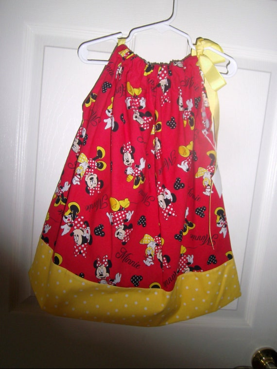 Minnie Mouse Girls Dress, Handmade, Pillowcase style, Disney, Birthday party, Birthday gift,Sundress