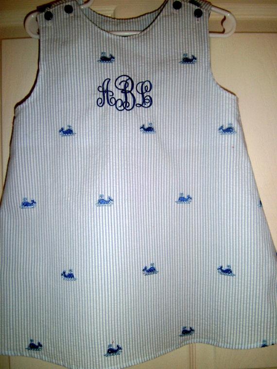 Girls Handmade Embroidered Whale Seersucker Jumper, Sundress,Free Monogrammng, Personalize, Toddler Dress,Infant Dress , Preteen Dress
