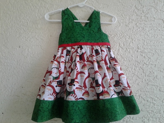 Christmas Santa Dress, Handmade, Christmas Party dress  ,Holiday , Ready to Dress