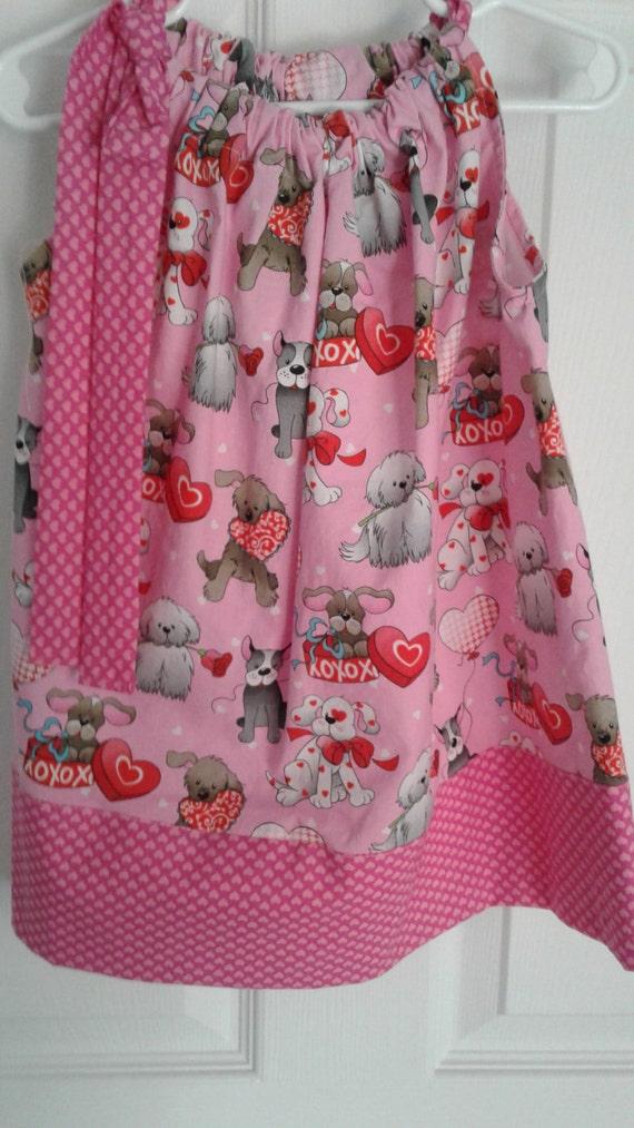 Valentine's Dress, Girls Dress,Handmade Dress,Pillowcase Dress,Heart Dress, Baby Dress,Toddler Dress, Tween Dress, Cotton Dress