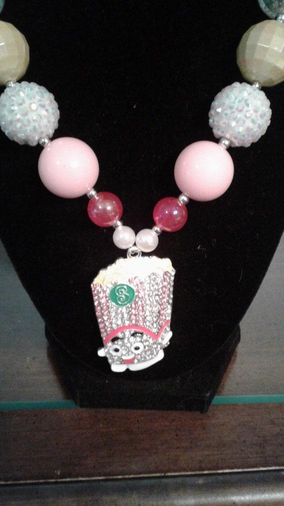 Shopkin Poppycorn Pendant Necklace, Handmade Necklace, Bubblegum Bead Necklsce, Kids Jewelry, Girls Necklace, Birthday Necklace,Chunky beads