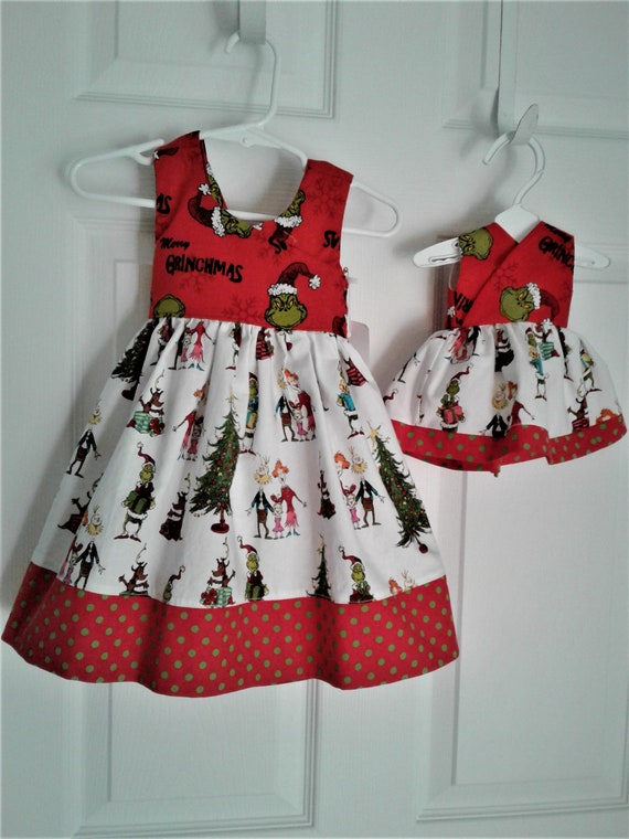 Grinch Dress Bundle ,Dollie and me, Girls Christmas Dress, Baby Dress, Toddler Dress, Santa Photo, Free shipping