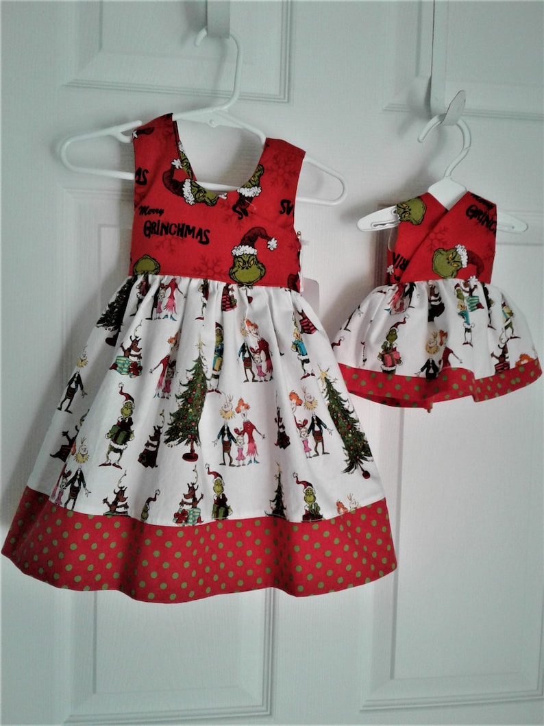 1d420b1b9f7b3 Grinch Dress, Christmas Dress, Baby Dress, Toddler Dress, Santa Photo, Free  shipping