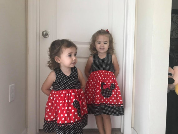 Minnie Mouse Dress, Disney Vacation dress.FREE SHPPING, Minnie Mouse Birthday Dress Disney trip, Red Minnie dress, Toddler dress, Baby dress